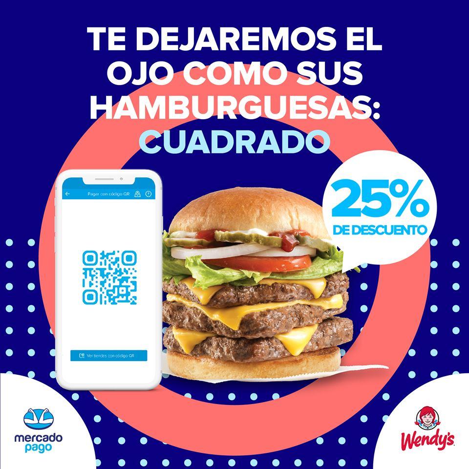Promo Wendys: 25% de descuento en compras de $100 o más pagando con Mercado Pago