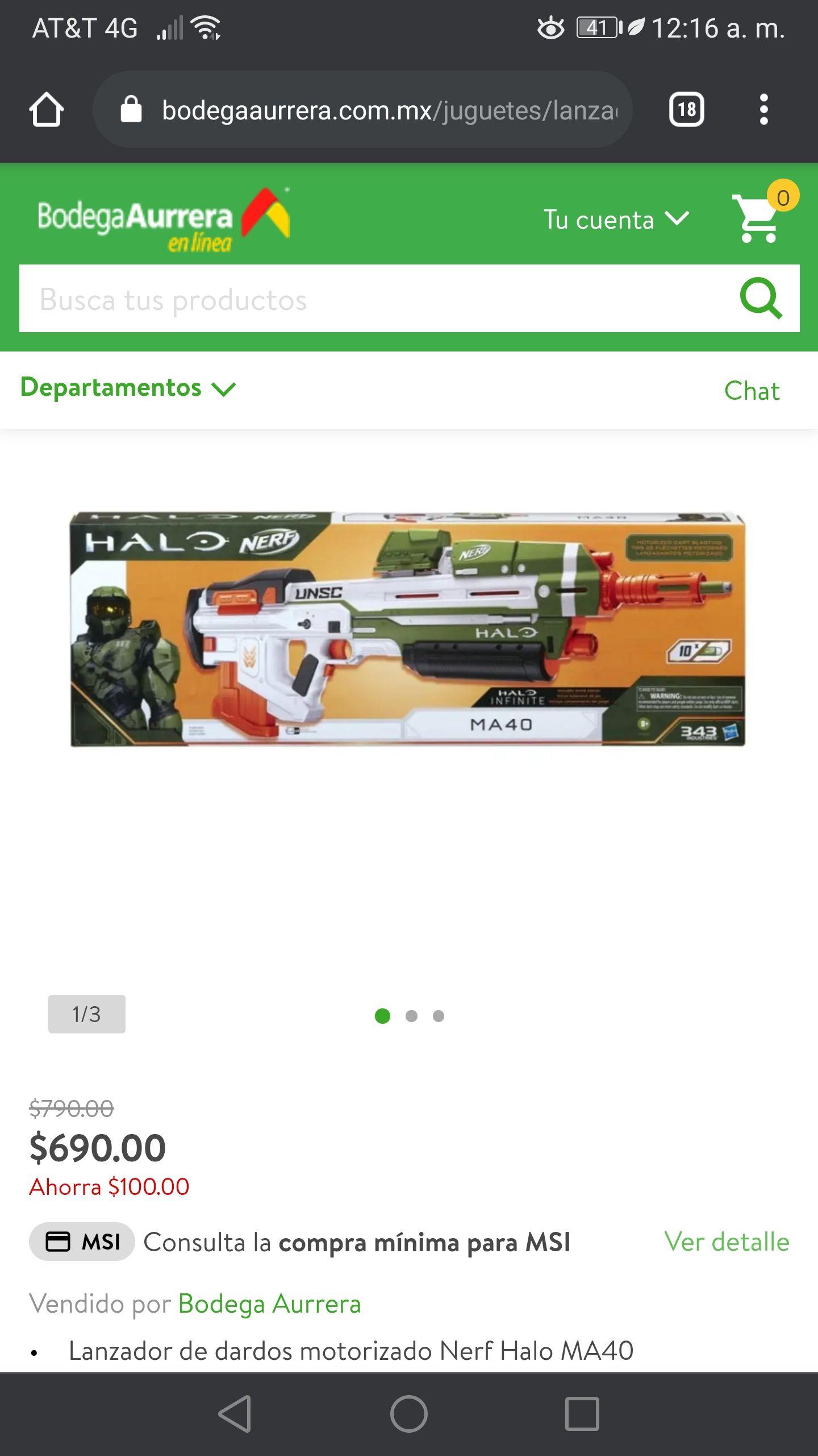 Bodega Aurrerá en línea Nerf Halo MA40 ya bajo aún mas