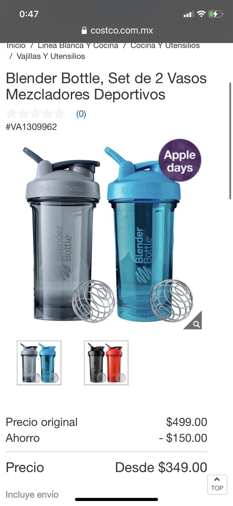 Costco: Blender Bottle, Set de 2 Vasos Mezcladores Deportivos costco