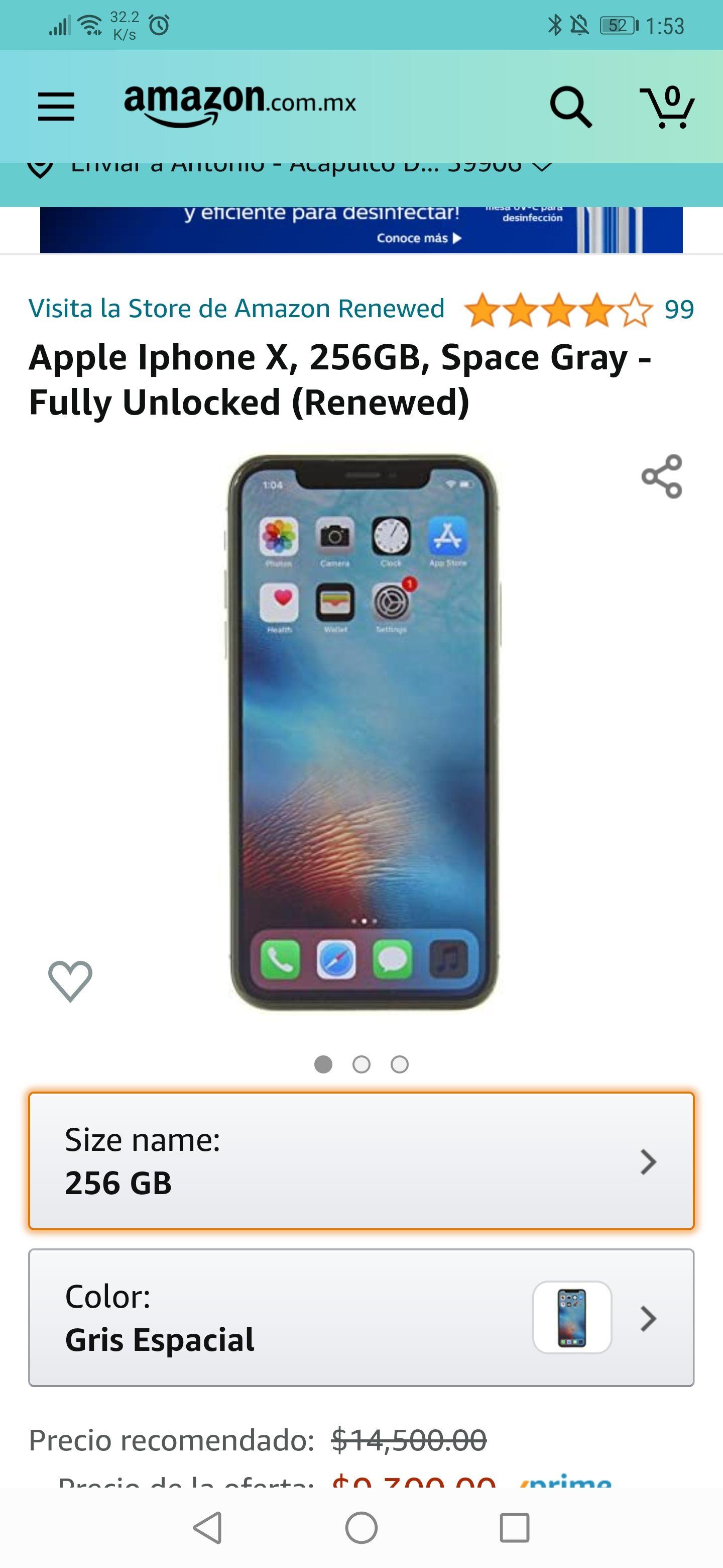 Amazon: iPhone X 256GB, Space Gray - Fully Unlocked (Renewed) ( keepa)