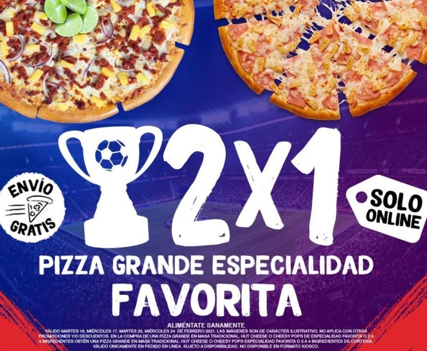 Pizza Hut: 2x1 en Pizzas Grandes Solo Online