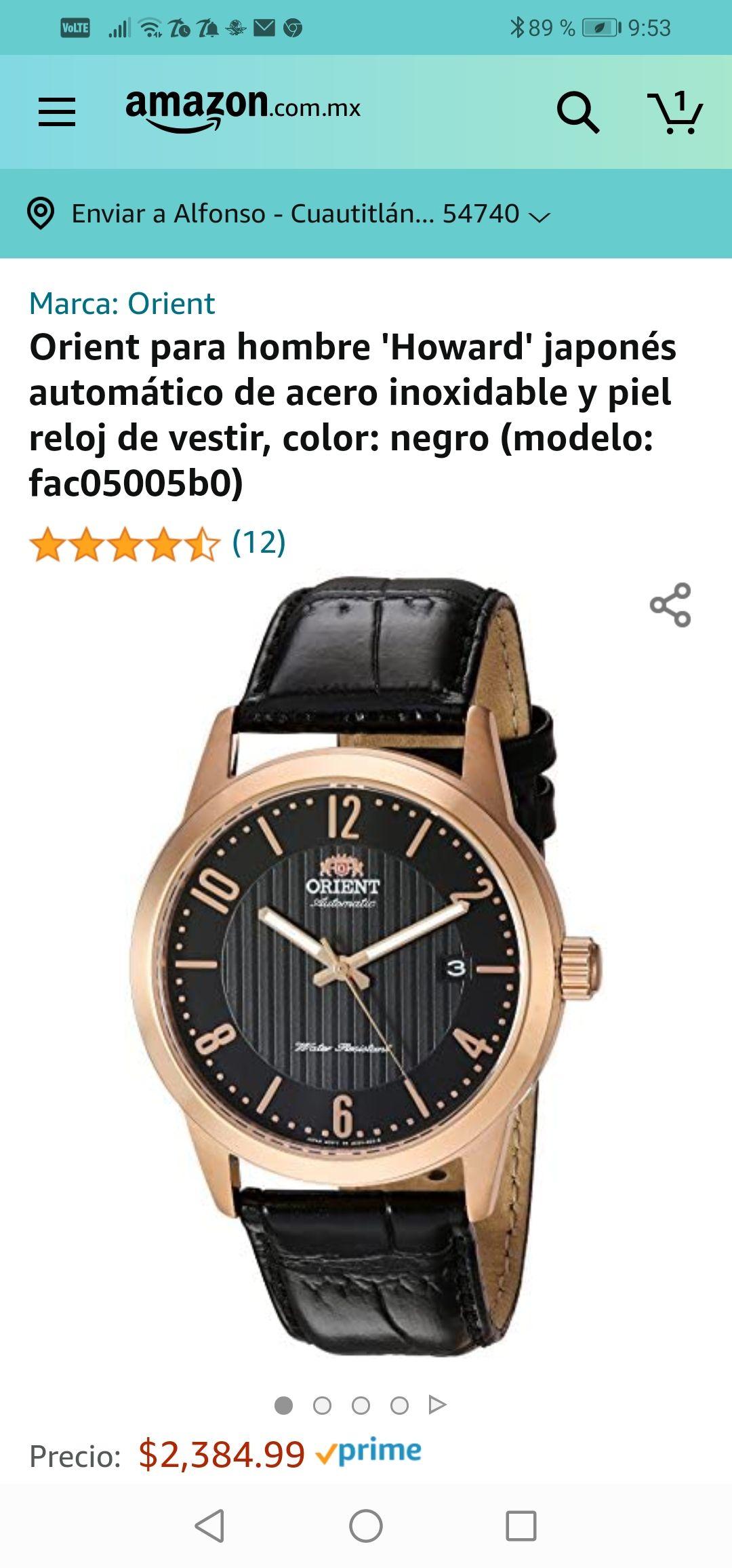 Amazon :Orient para hombre 'Howard' japonés automático de acero inoxidable y piel reloj de vestir, color: negro (modelo: fac05005b0)
