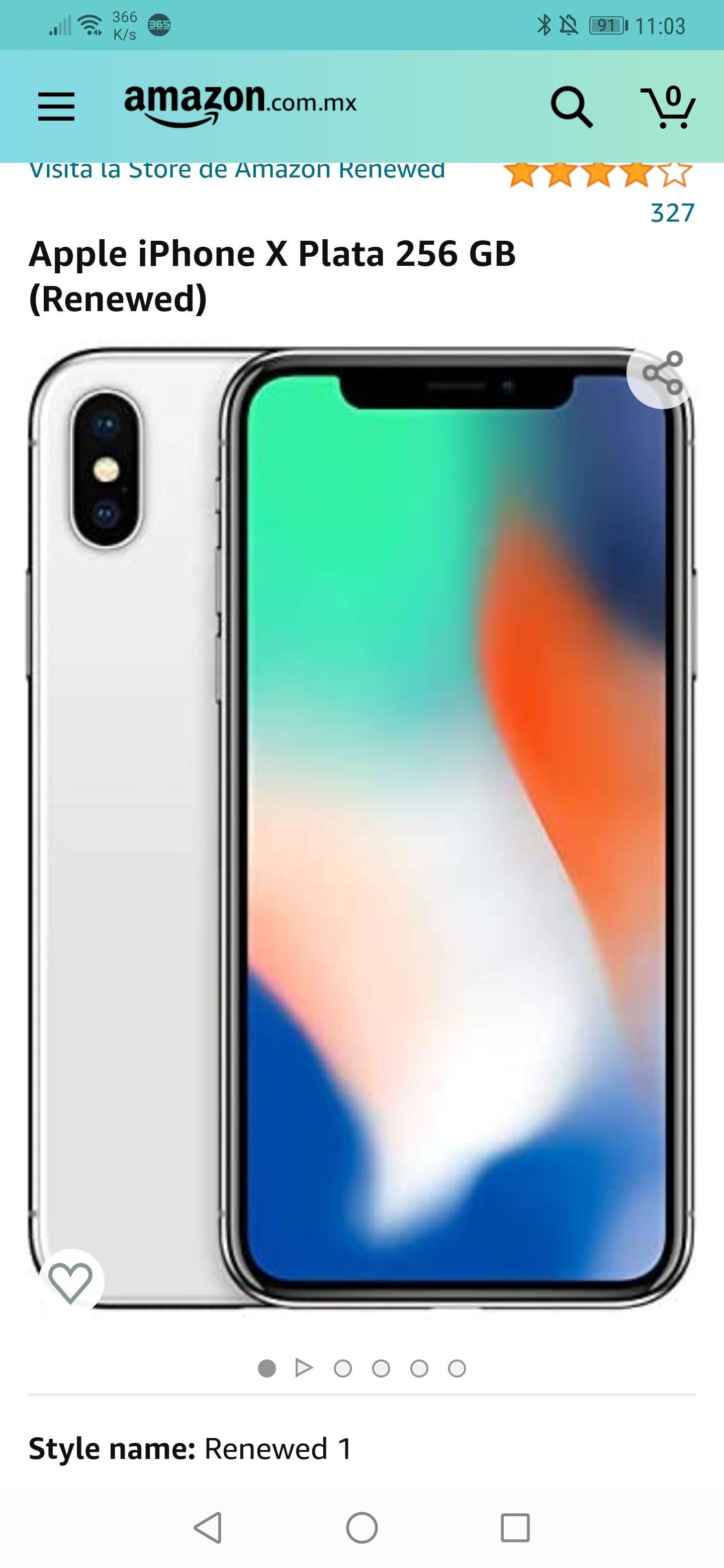 Amazon : Apple iPhone X Plata 256 GB (Renewed)
