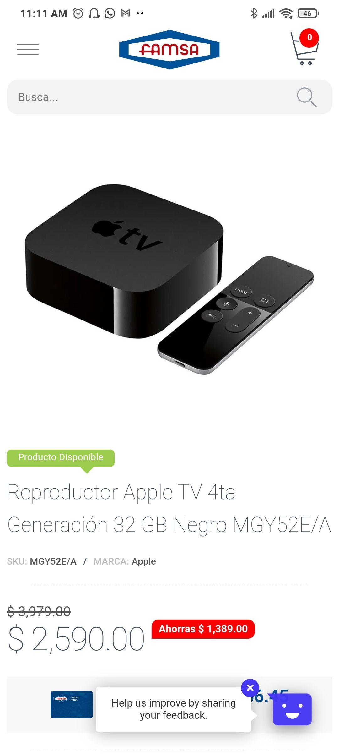 Famsa Apple TV HD 4ta gen