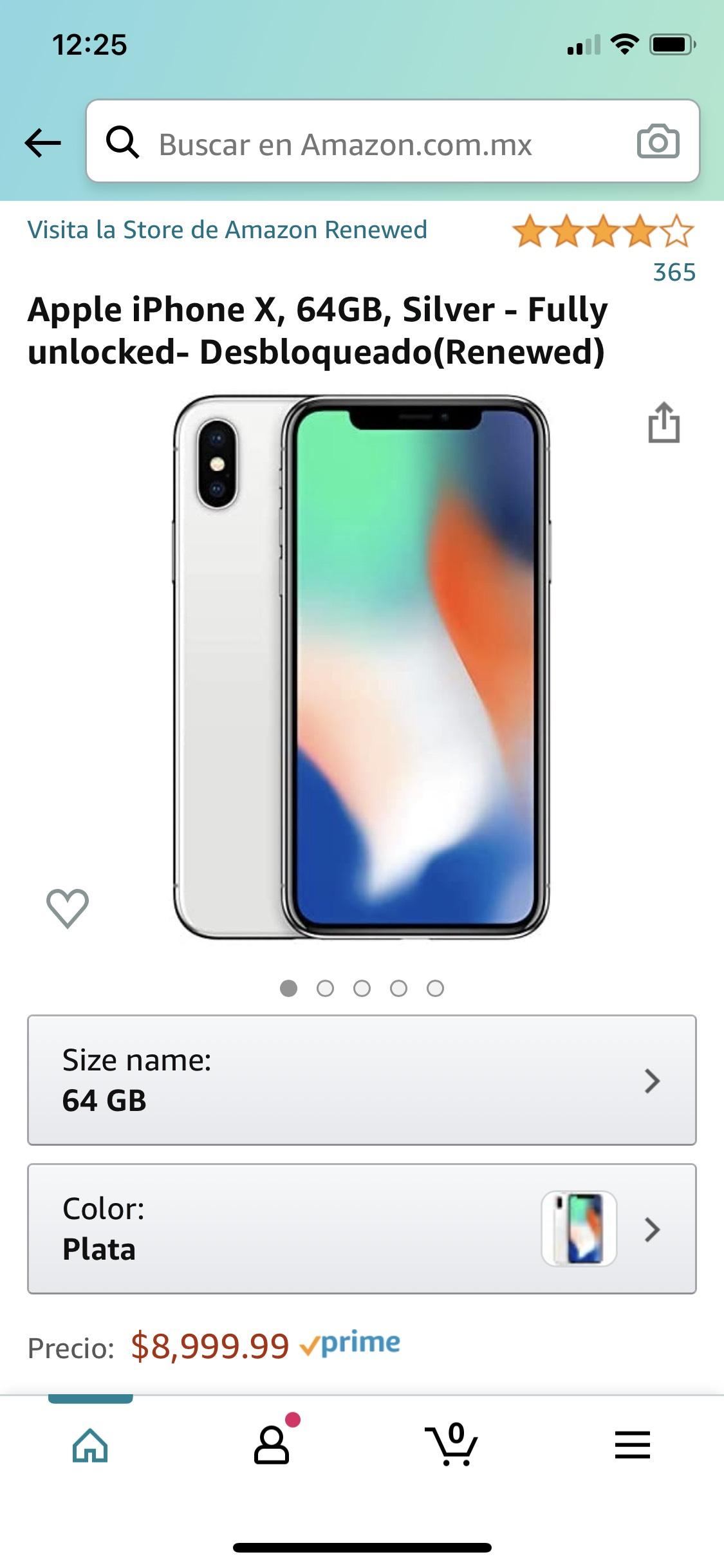 Amazon: iPhone X 64GB Plata Renewed