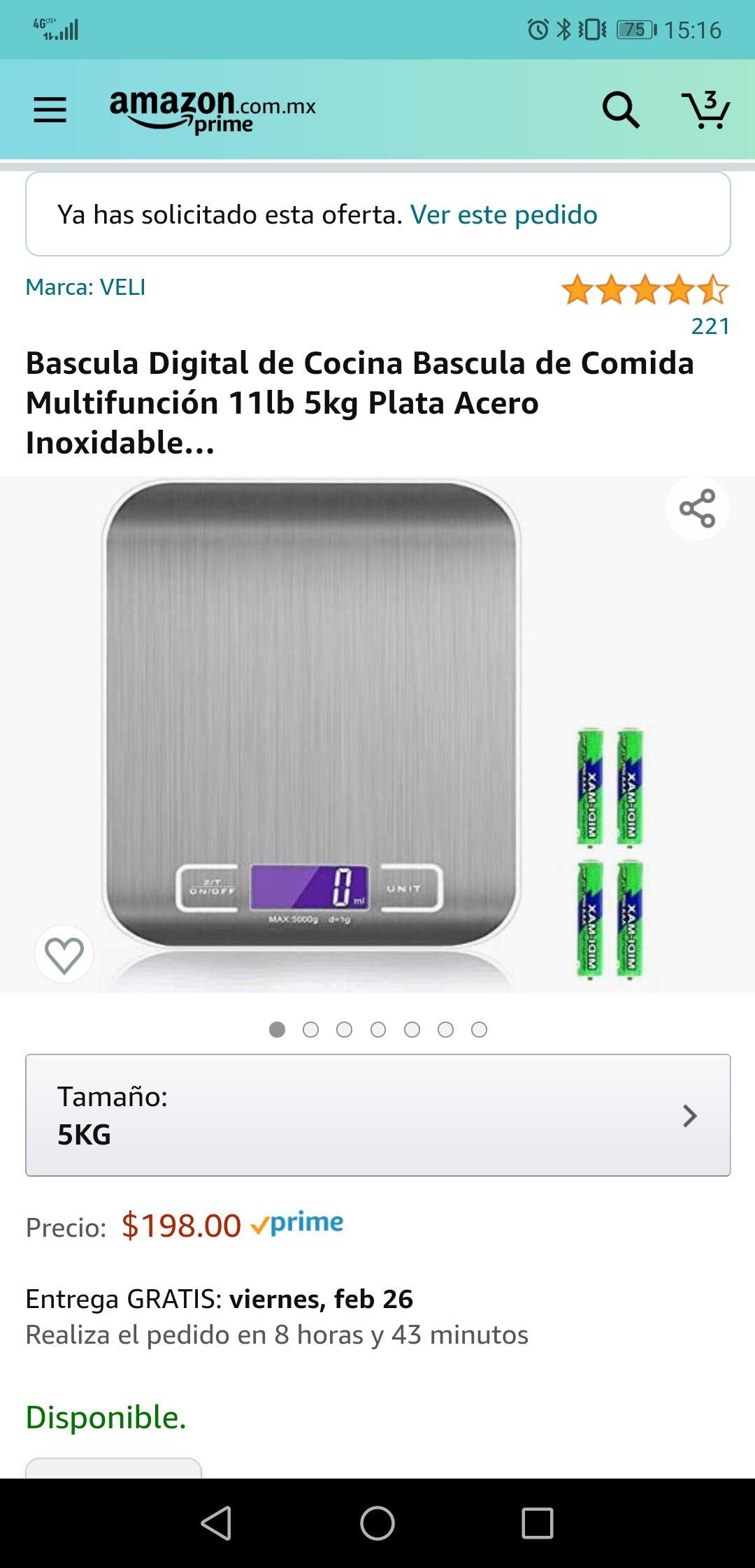 Amazon: Báscula digital de cocina 5kg