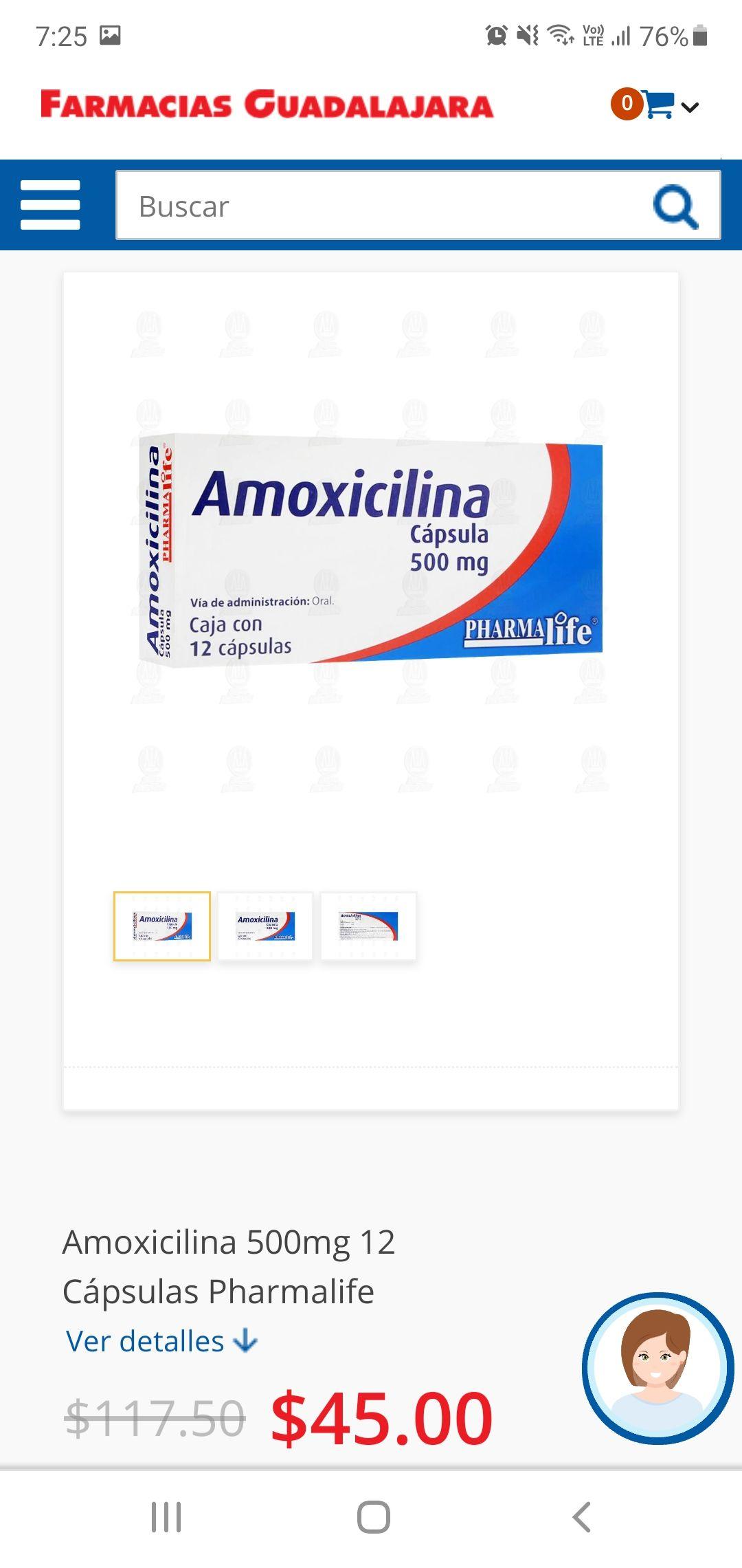 Farmacias Guadalajara: Amoxicilina 12 capsulas 500 mg c/u
