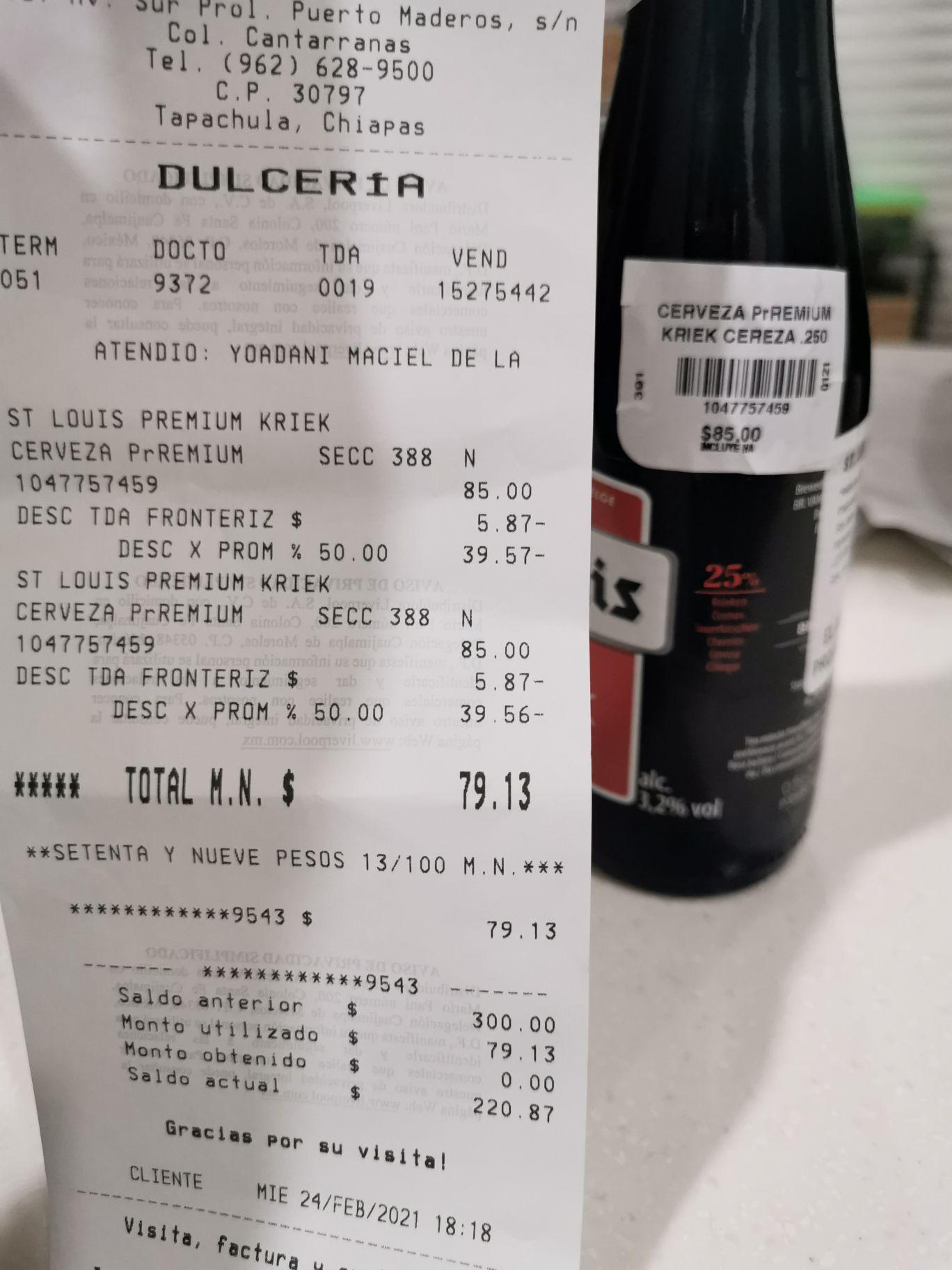 Liverpool Tapachula: 50% desc. Cerveza Kriek