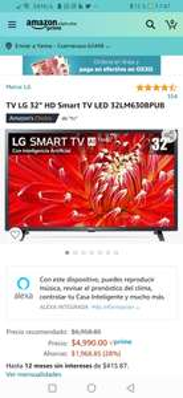 "Amazon: TV LG 32"" HD Smart TV LED 32LM630BPUB"