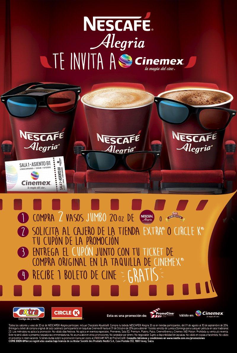 Cinemex: Boleto GRATIS comprando variedad de Nescafe Alegria en Tiendas Extra o Circle K
