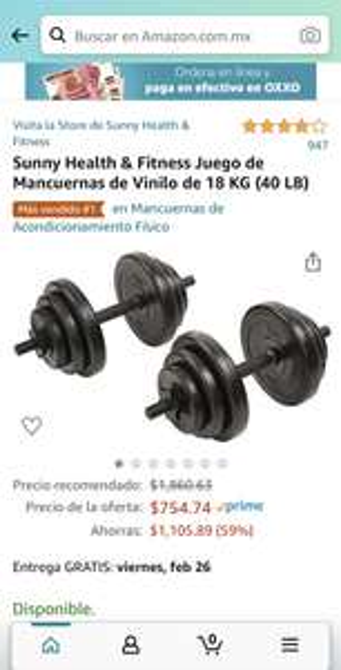 Amazon: Mancuernas 18 kg