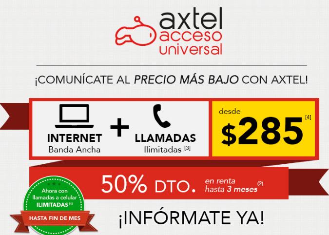 Axtel: internet 512kbps y telefono ilimitado por $285