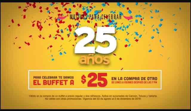 Sirloin Stockade: 2do buffet a $25 en la compra de un buffet a precio regular -Cancún,Toluca y Vallarta-