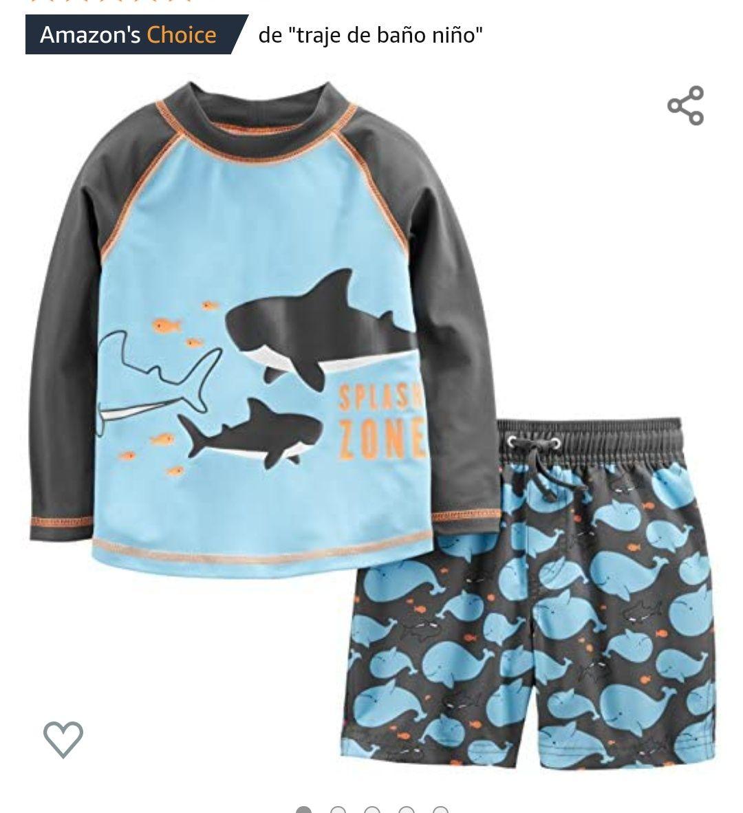 Amazon: Simple Joys by Carter's - Traje de baño de 2 Piezas para bebé y niño, Color Azul Ballenas