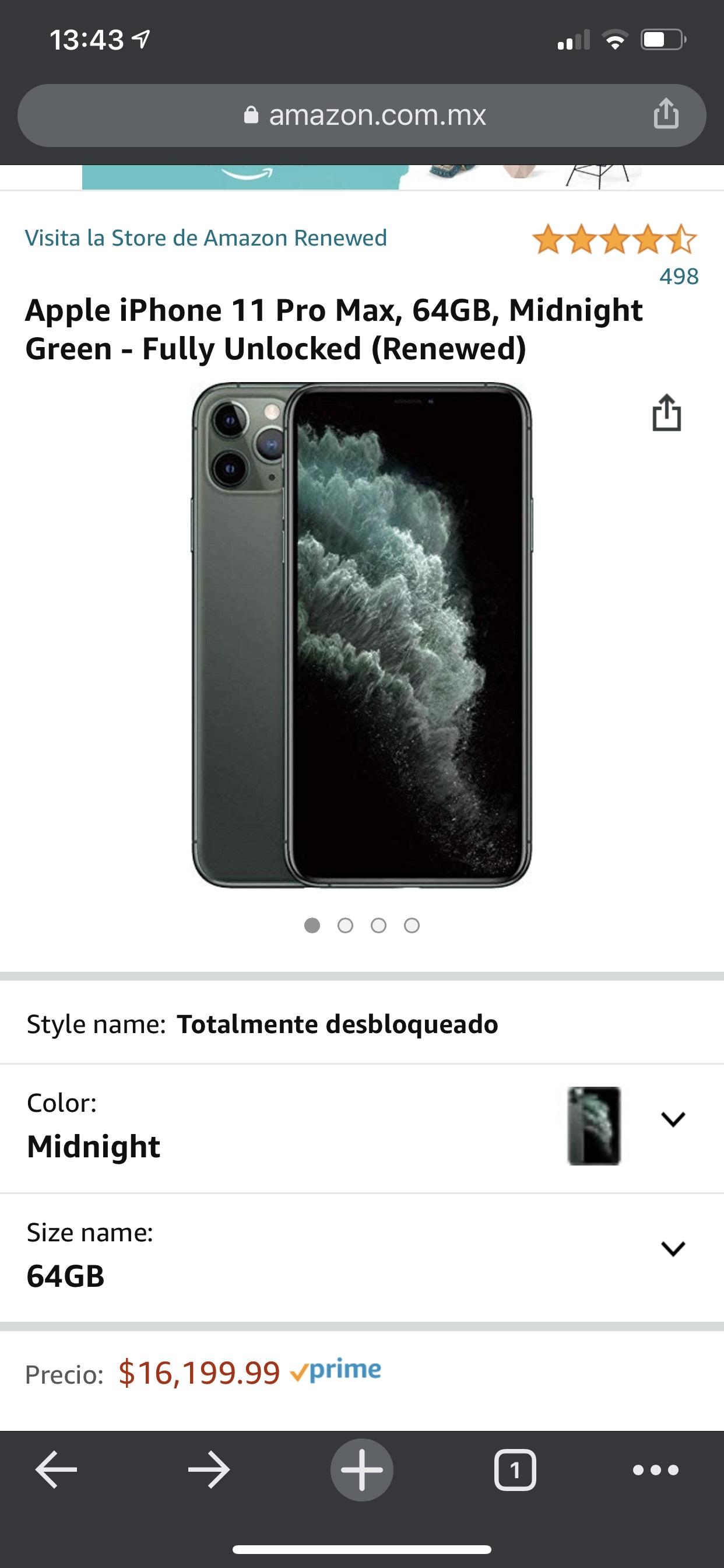 Amazon: Apple iPhone 11 Pro Max, 64GB, Midnight Green - Fully Unlocked (Renewed)