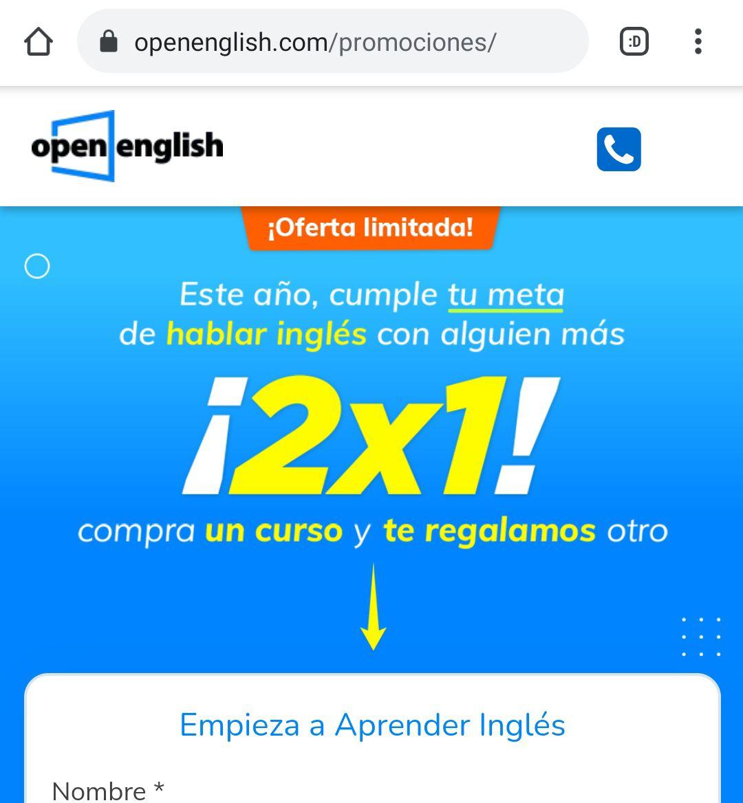 2x1 Open english. Clases de inglés
