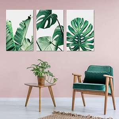 Amazon: 3 pósteres modernos de hojas verdes de plátano y hojas tropicales, acuarela, palma, monstera, decoración de pared 20 x 30 cm