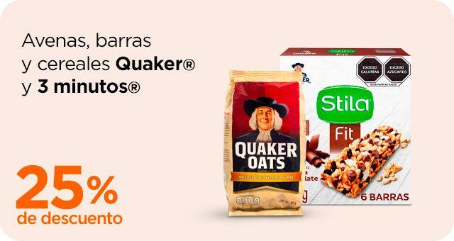 Chedraui: 25% de descuento en avenas, barras y cereales Quaker y 3 minutos
