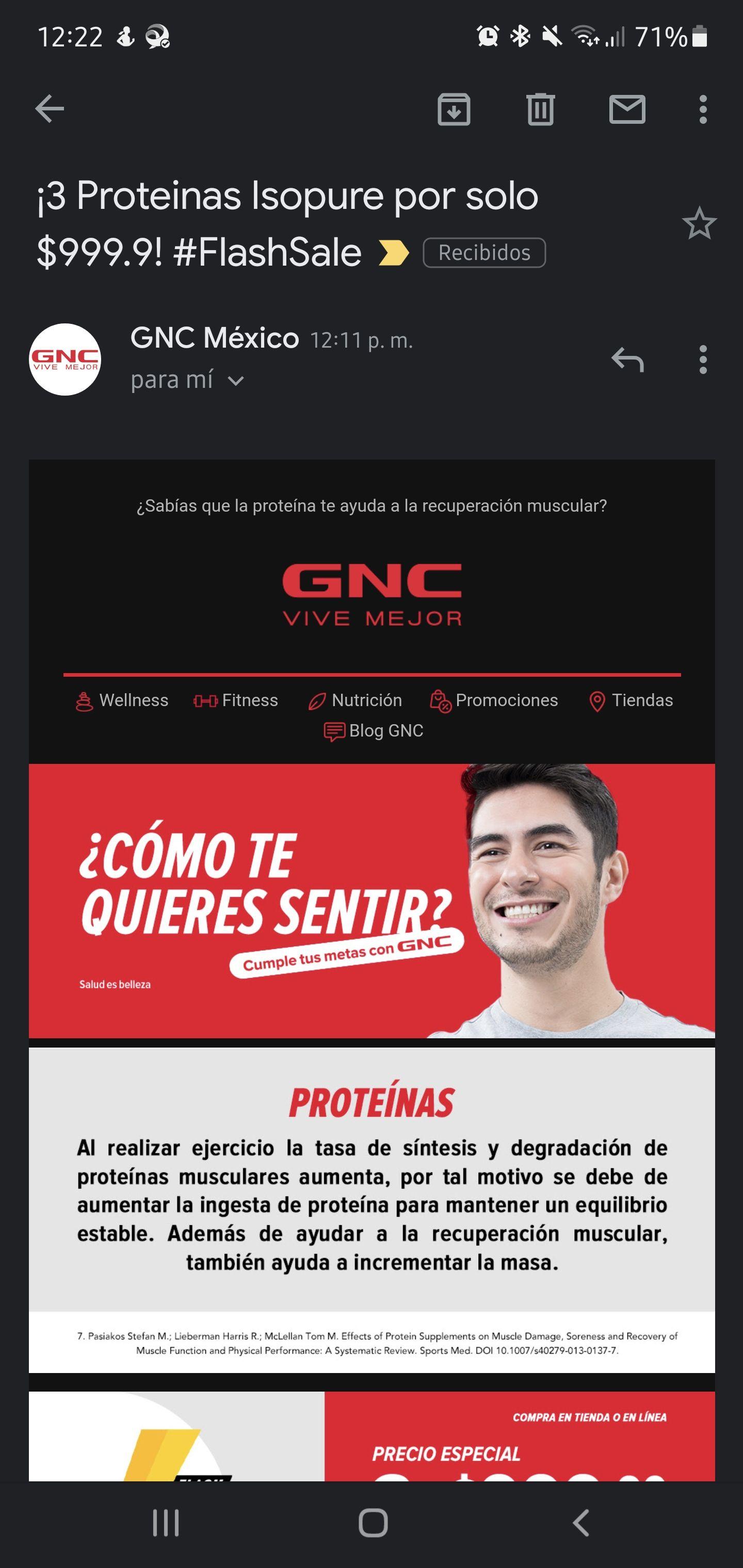 GNC 3 bolsas de Isopure por 999
