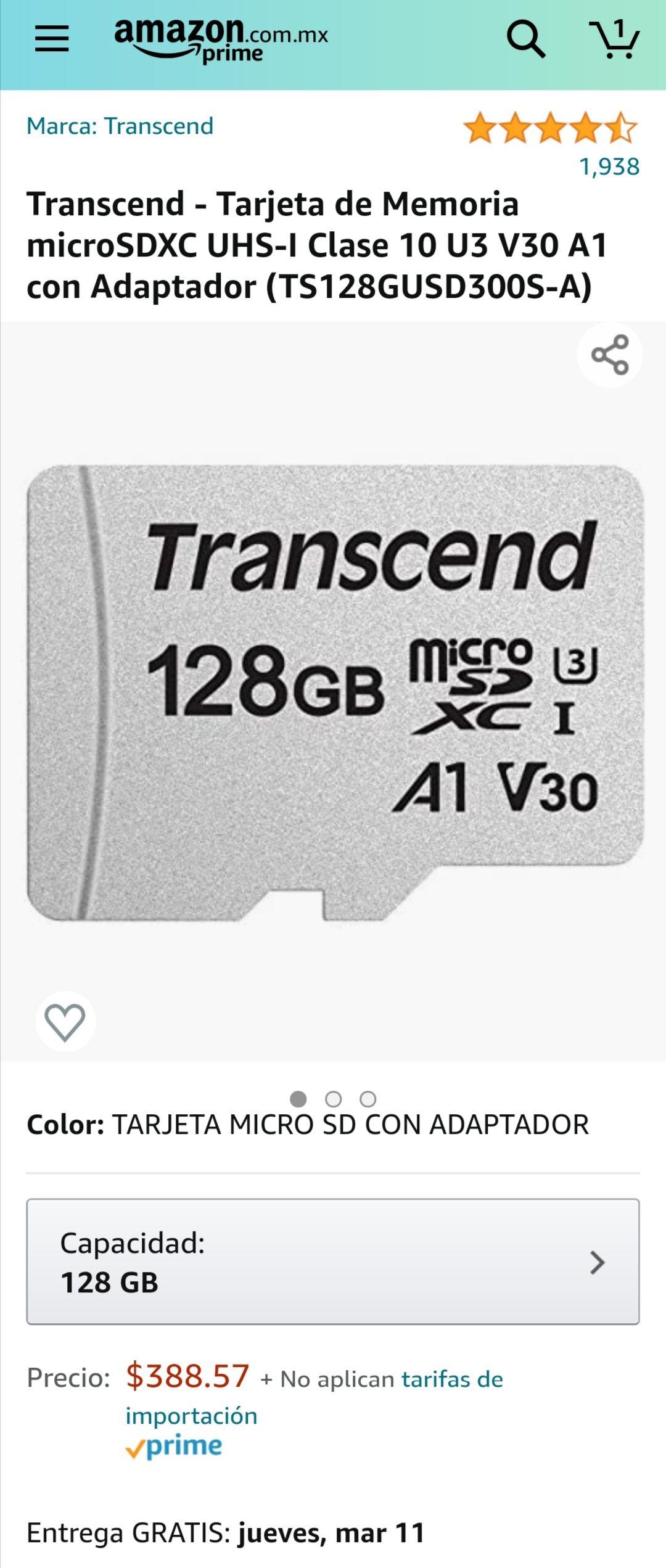 Amazon: Transcend Memoria Micro SDXC UHS-1 Clase 10 U3 V30 A1 100MB/s 4K