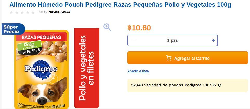 Chedraui: 5 x $43.00 Alimento Húmedo Pouch Pedigree