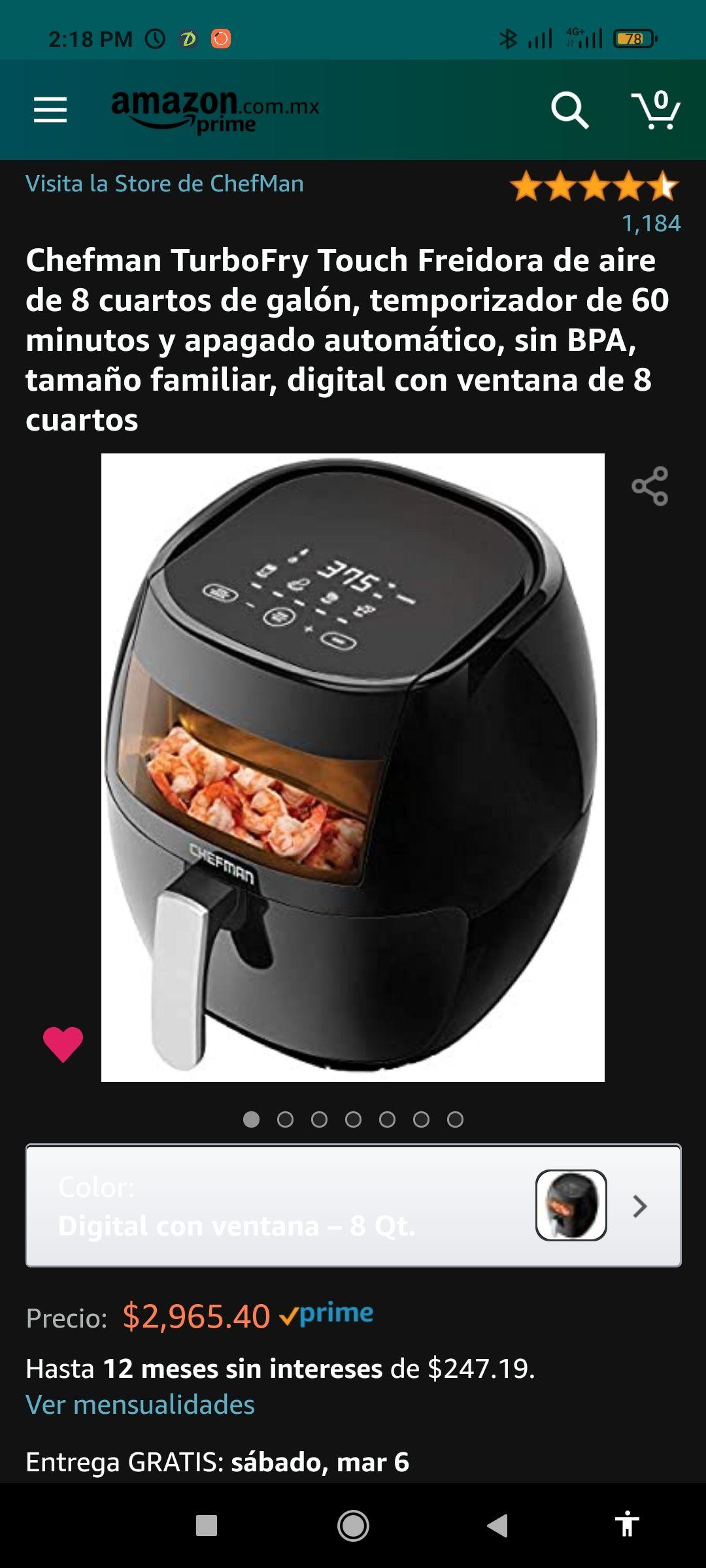 Amazon: Freidora de aire Chefman 8 Qt (7.6 lts)