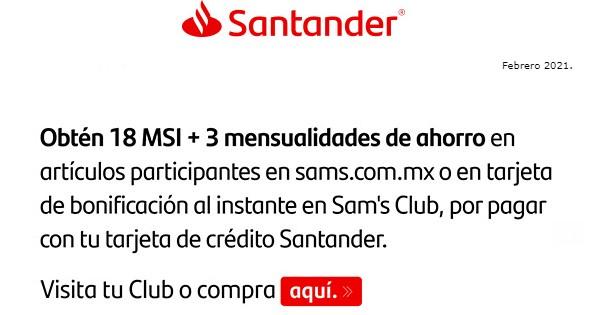 Sam's Club: 3 mensualidades de ahorro con Santander a 18 msi