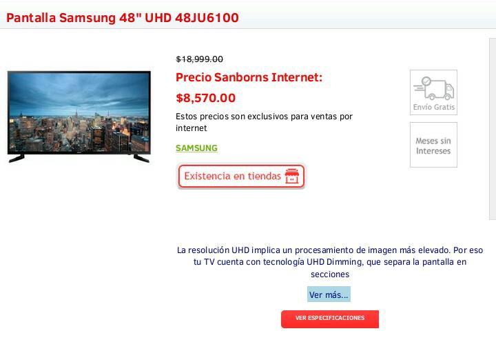 "Sanborns: Pantalla Samsung 48"" UHD SmartTV 48JU6100 a $8,570"