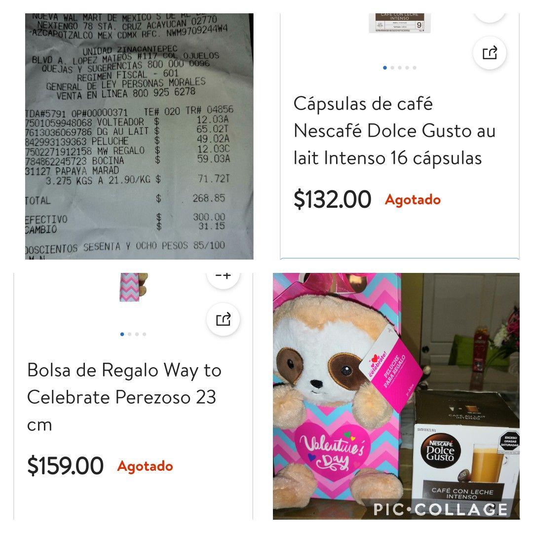 Walmart: BOLSA DE REGALO CON PELUCHE DE Perezoso EN SEGUNDA LIQUIDACIÓN, ADEMAS ENCONTRÉ UN CAFÉ CON LECHE INTENSO EN $$65.02