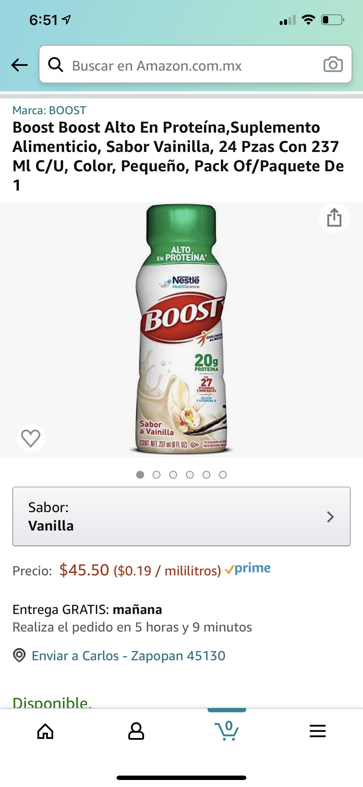 Amazon Boost de Nestle, sabor vainilla 24 piezas con 237ml C/U