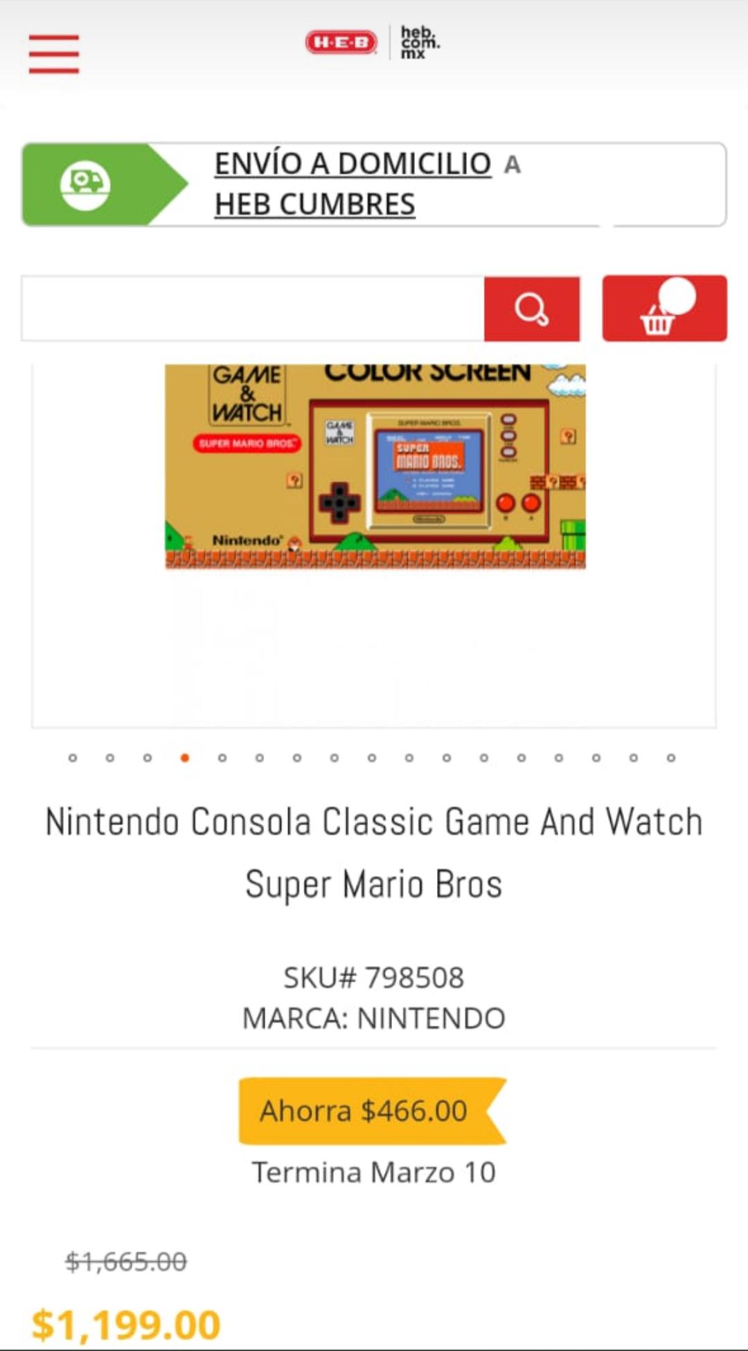 Heb Nintendo Consola Classic Game And Watch Super Mario Bros
