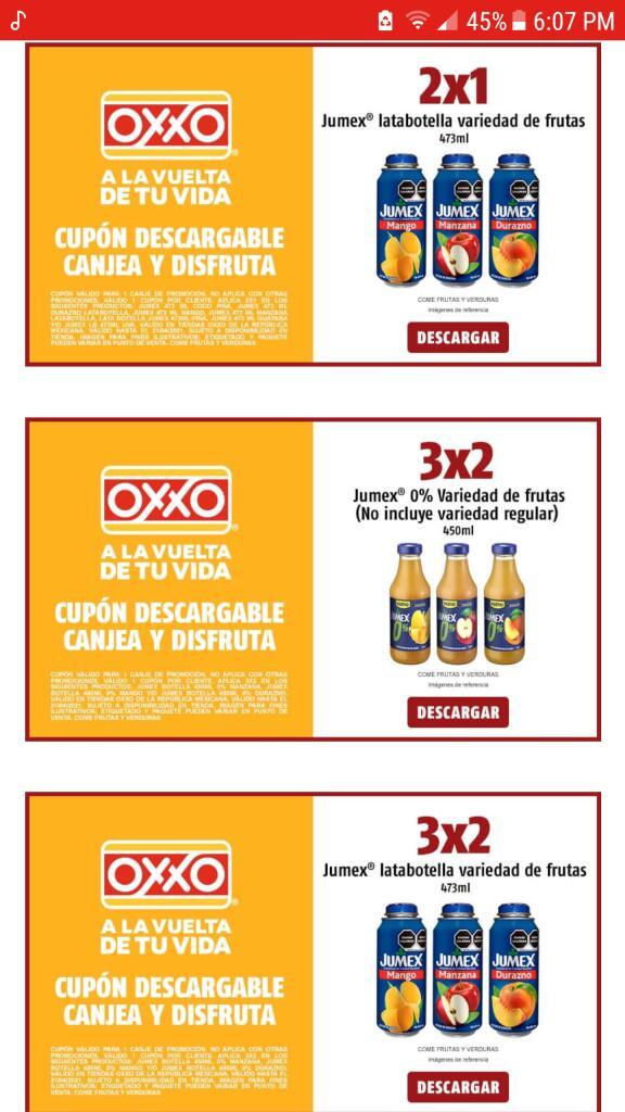 Oxxo cupones para jugos 2x1 y 3x2