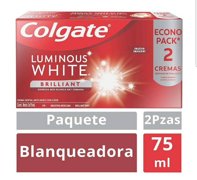 Amazon: Colgate Luminous Pasta Dental White, 75 ml, Paquete de 2 Piezas