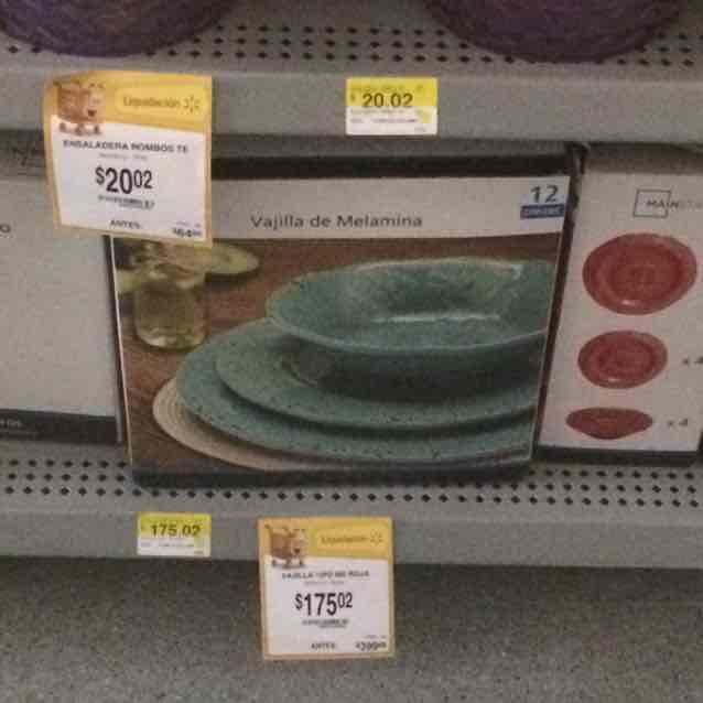 Walmart Toreo: vajilla de melanina a $175.02