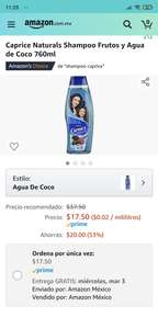 Amazon: Caprice Naturals Shampoo Frutos y Agua de Coco 760ml