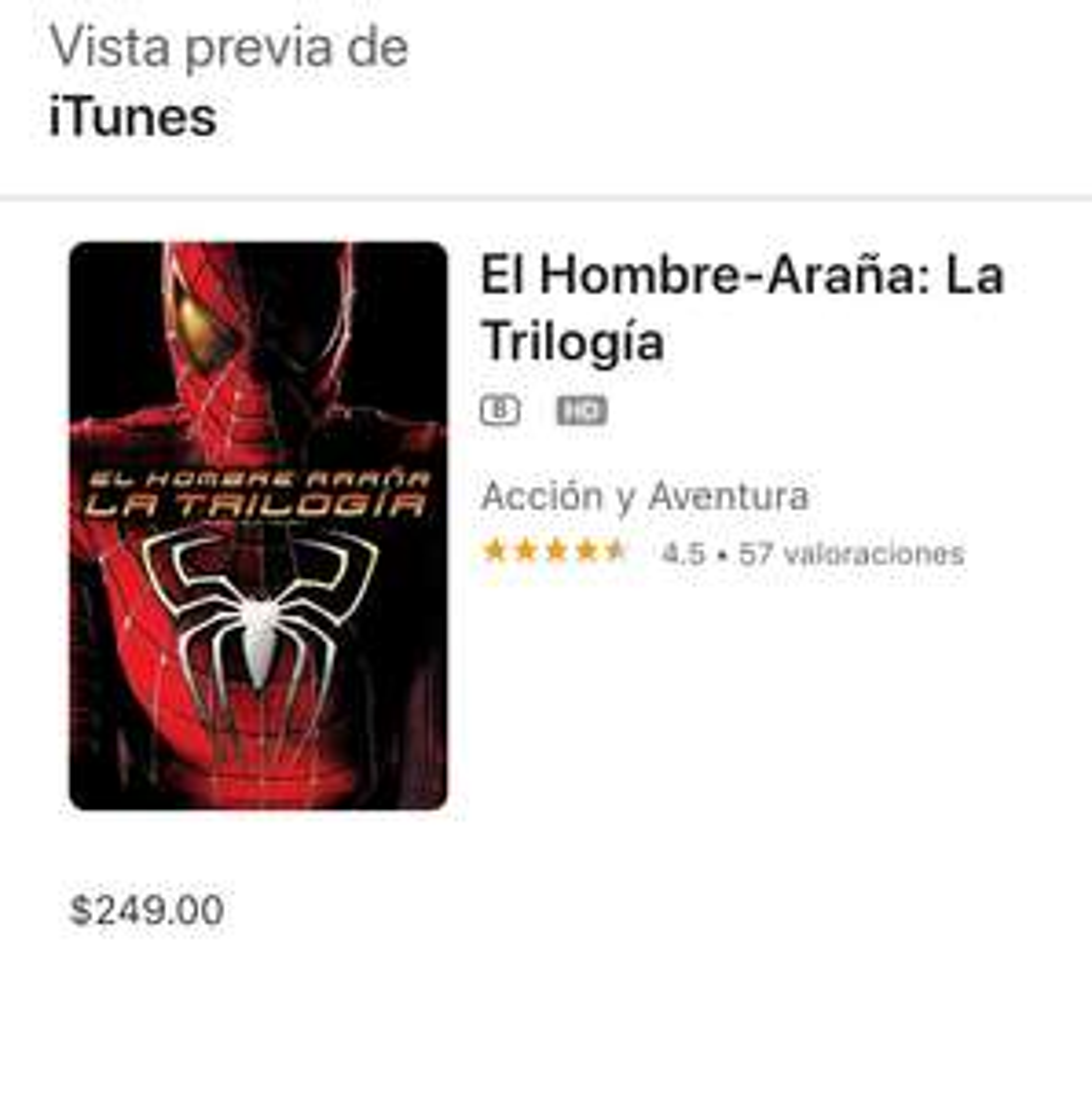 Trilogía Spiderman (Sam Raimi) 4K Dolby Atmos | itunes