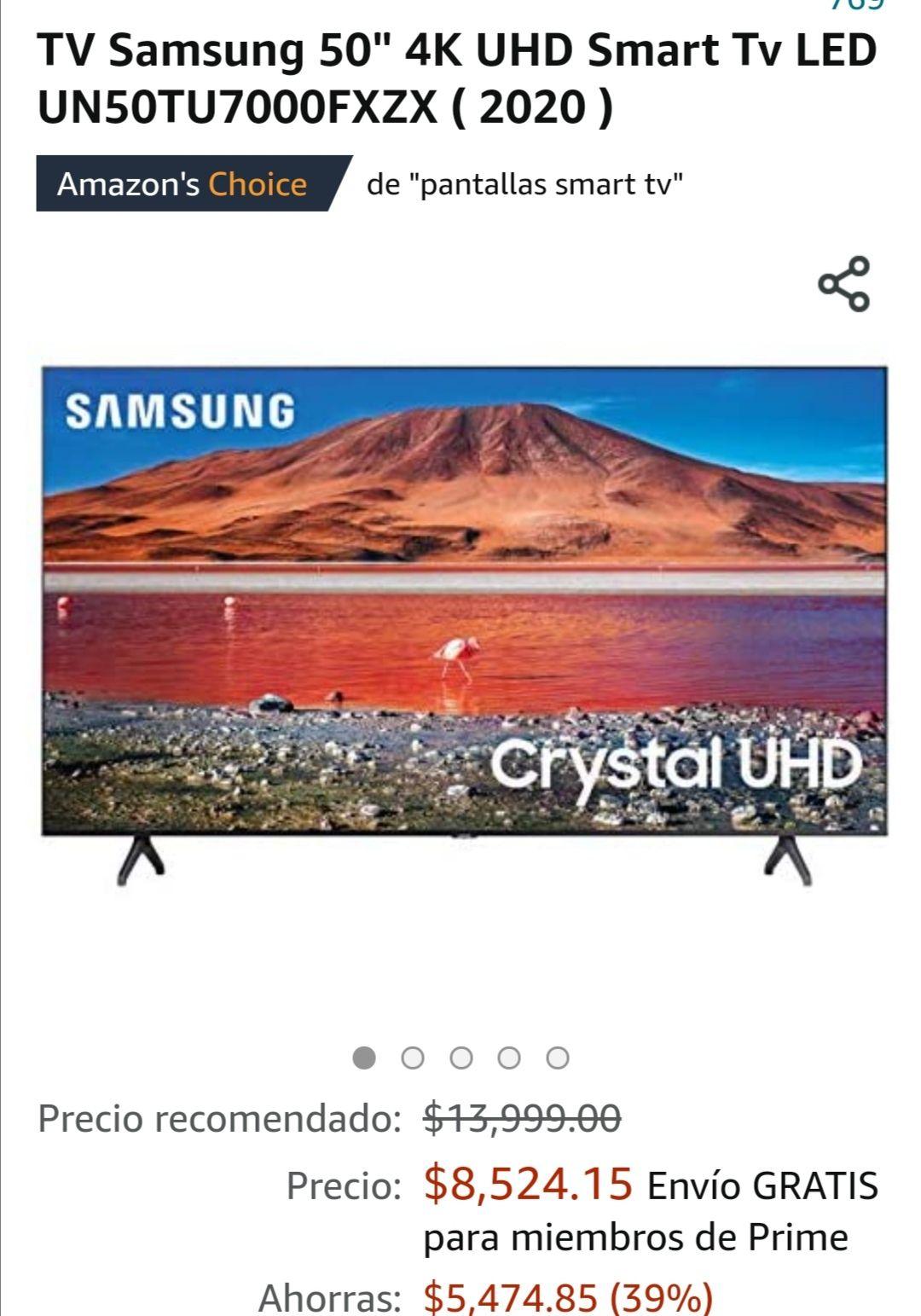 "Amazon, TV Samsung 50"" 4K UHD Smart Tv LED UN50TU7000FXZX ( 2020 )"