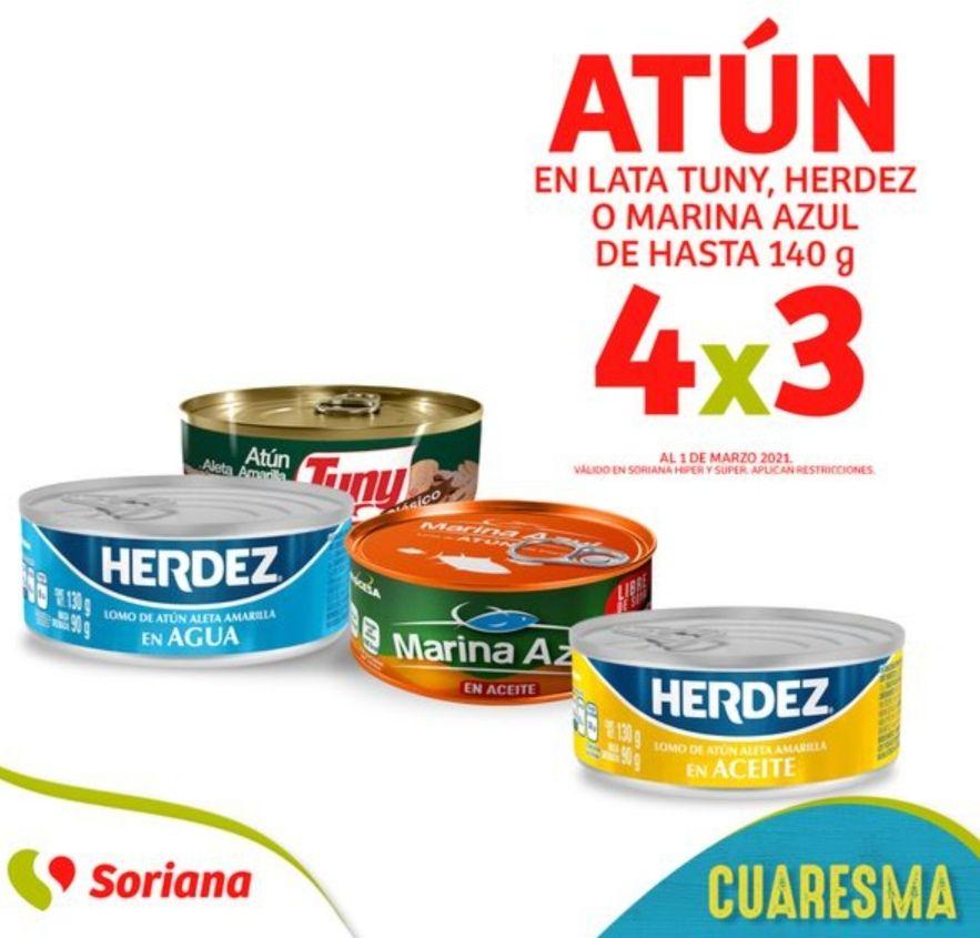 Soriana Híper y Súper: 4 x 3 en atún en lata Tuny, Herdez o Marina Azul de hasta 140 g.