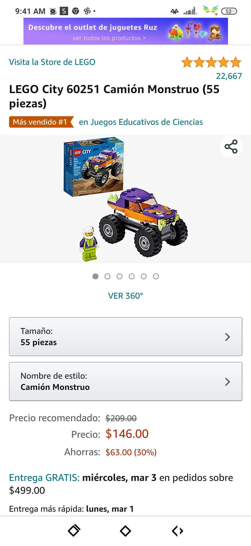 Amazon LEGO City 60251 Camión Monstruo (55 piezas)