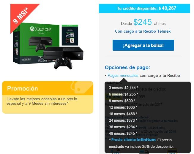 Tienda Telmex: Xbox One de 500 GB a $4,581 pagando a 9MSI