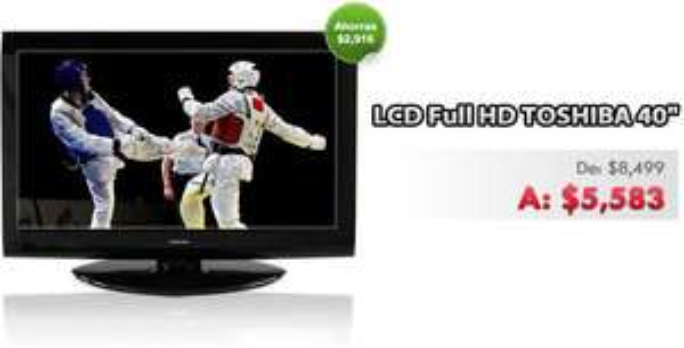 "Elektra online: pantalla LCD 40"" Toshiba a $5,583"