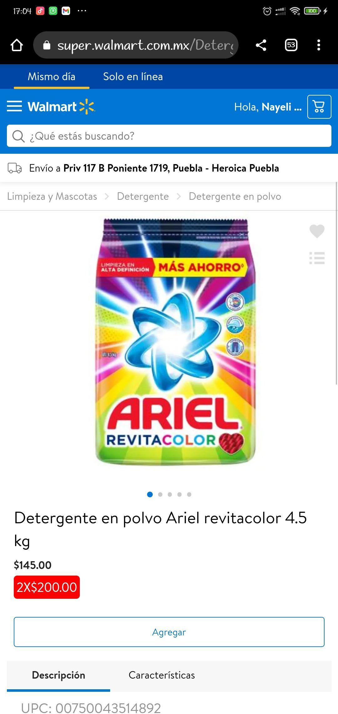 Walmart: Detergente Ariel Revitacolor 4.5 Kg. Kg