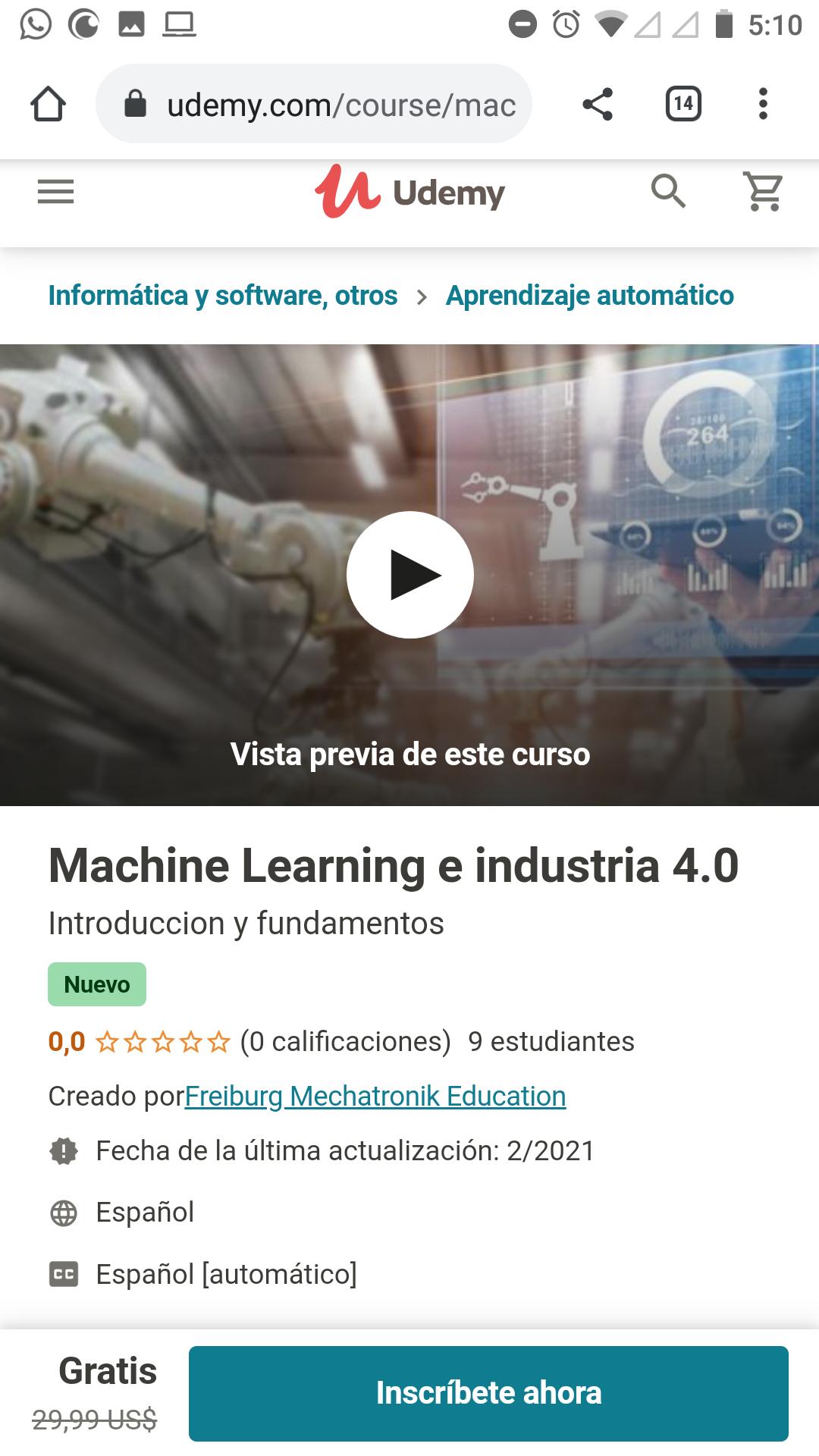 Udemy: Machine Learning e industria 4.0