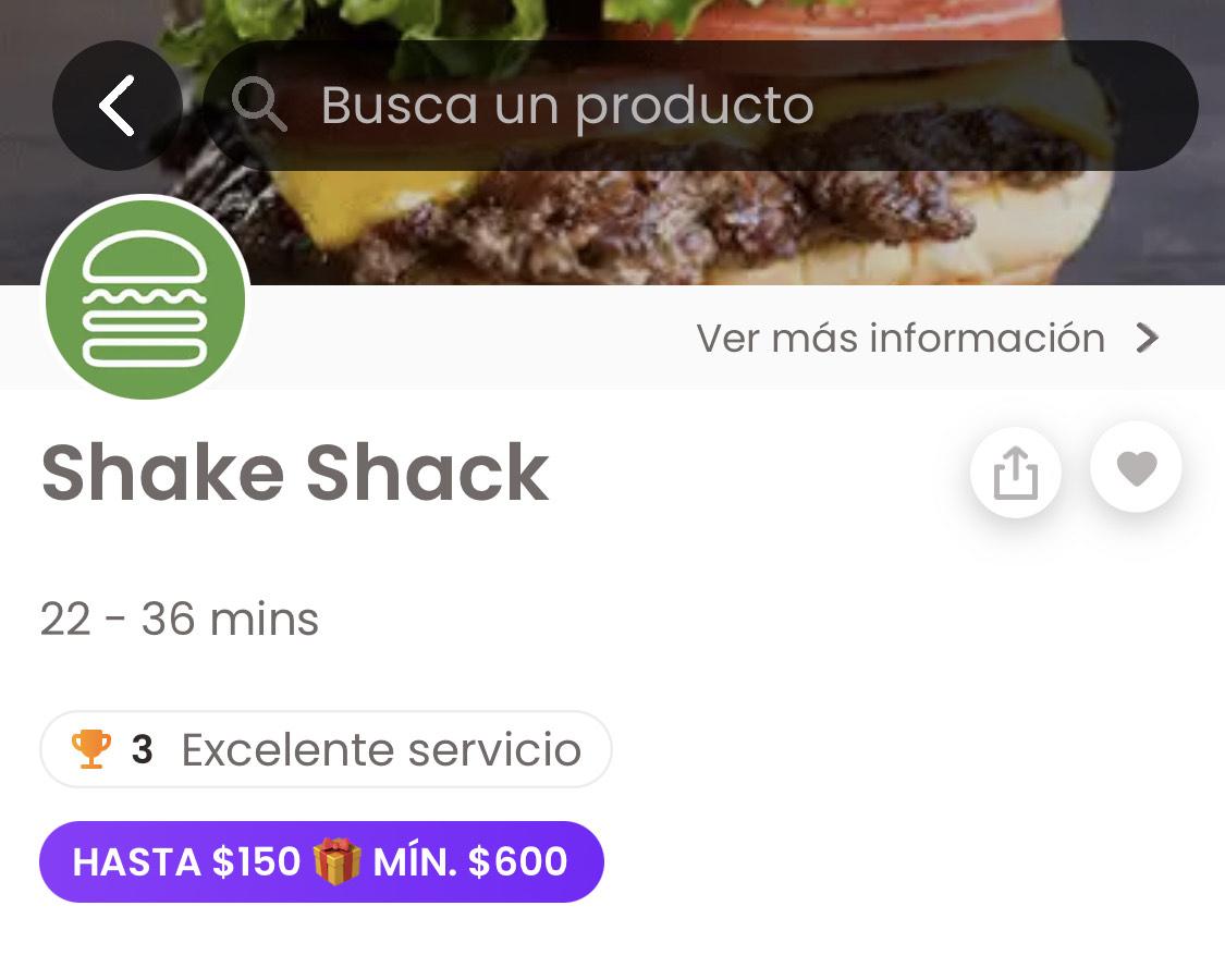 Rappi y Shake Shack: -$150 al comprar $600