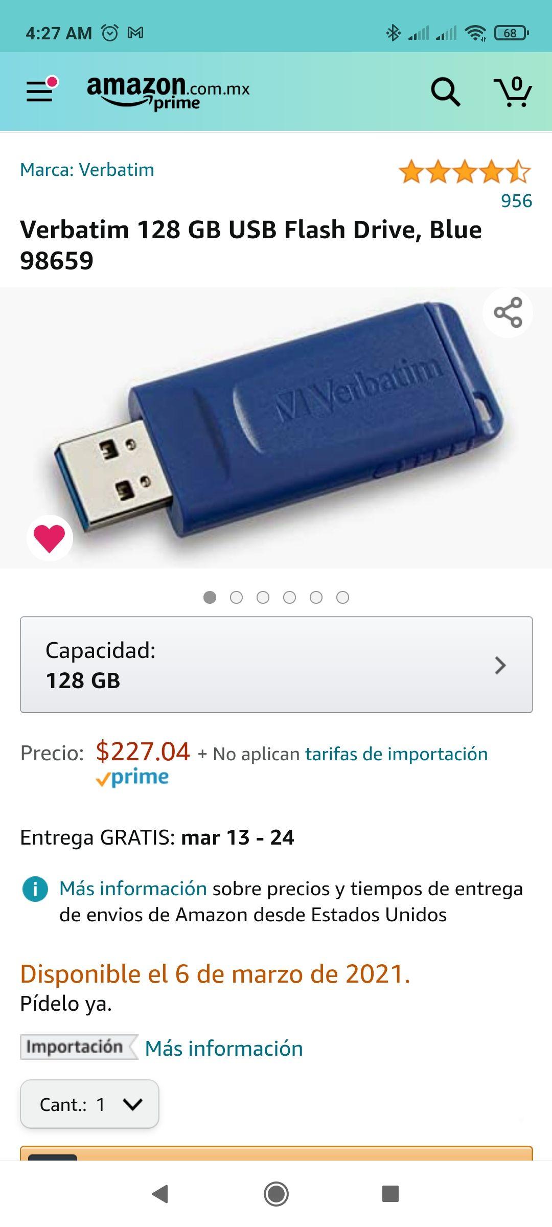 Amazon: Verbatim 128 GB USB Flash Drive, Blue 98659