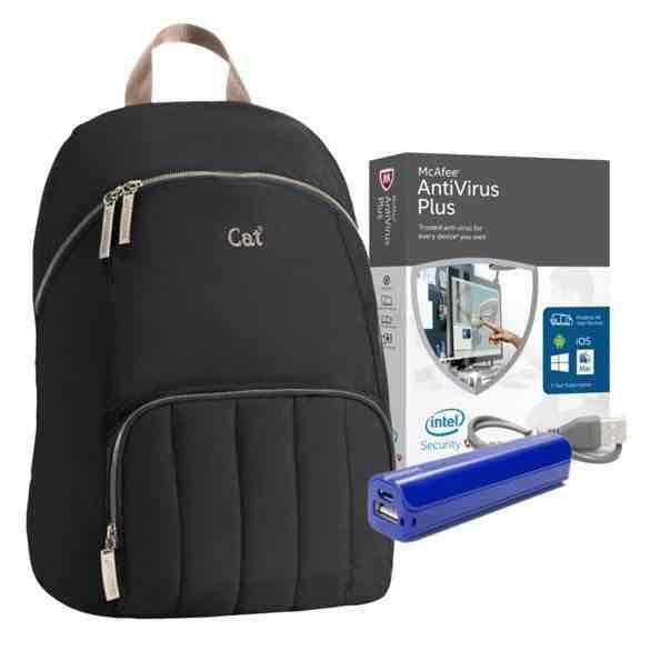 Sears en Linea: Bundle mochila caterpillar con powerbank y antivirus McAfee