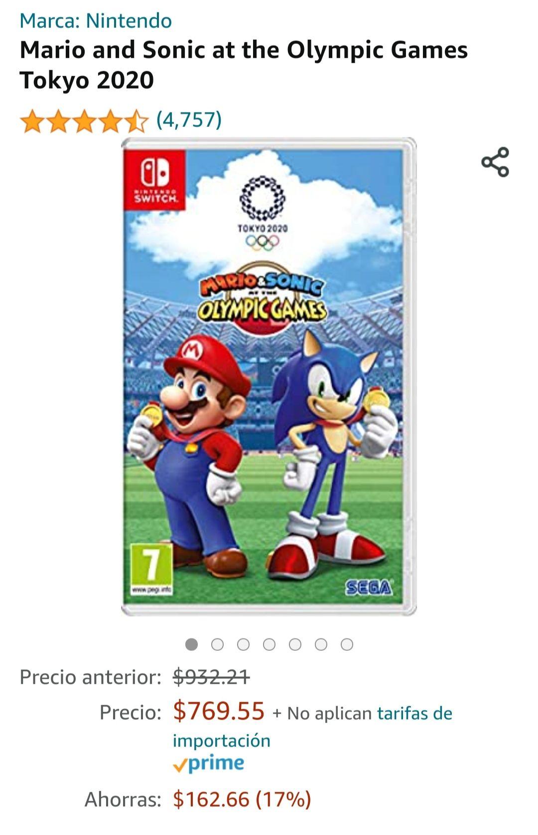 Amazon: Mario y Sonic juegos olímpicos Tokyo 2020 Switch