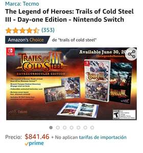 Amazon: Trails of cold steel III Switch