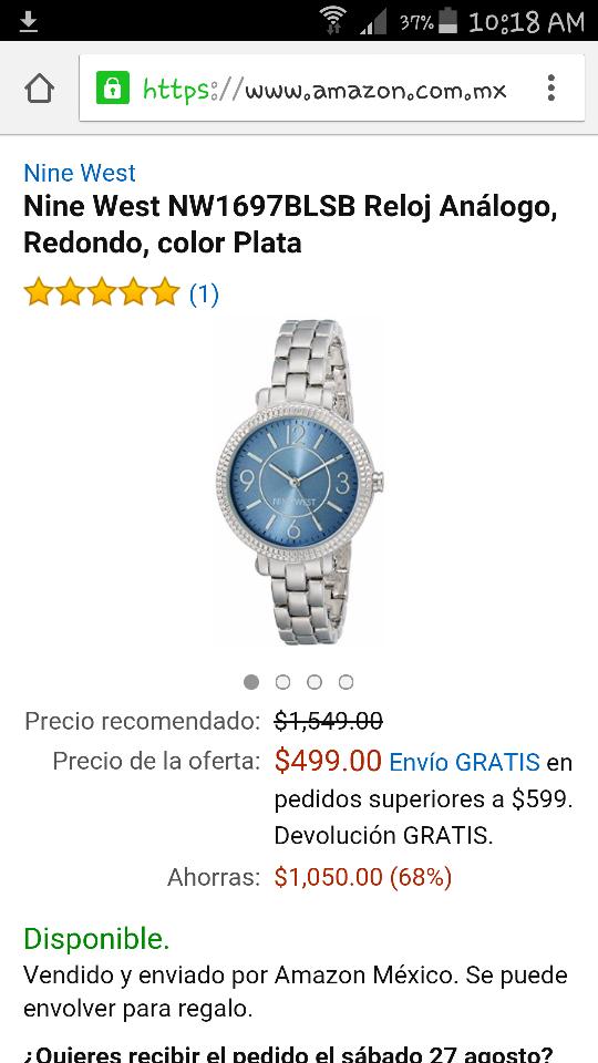 Amazon:  Reloj Análogo Nine West NW1697BLSB de $1,549 a $499