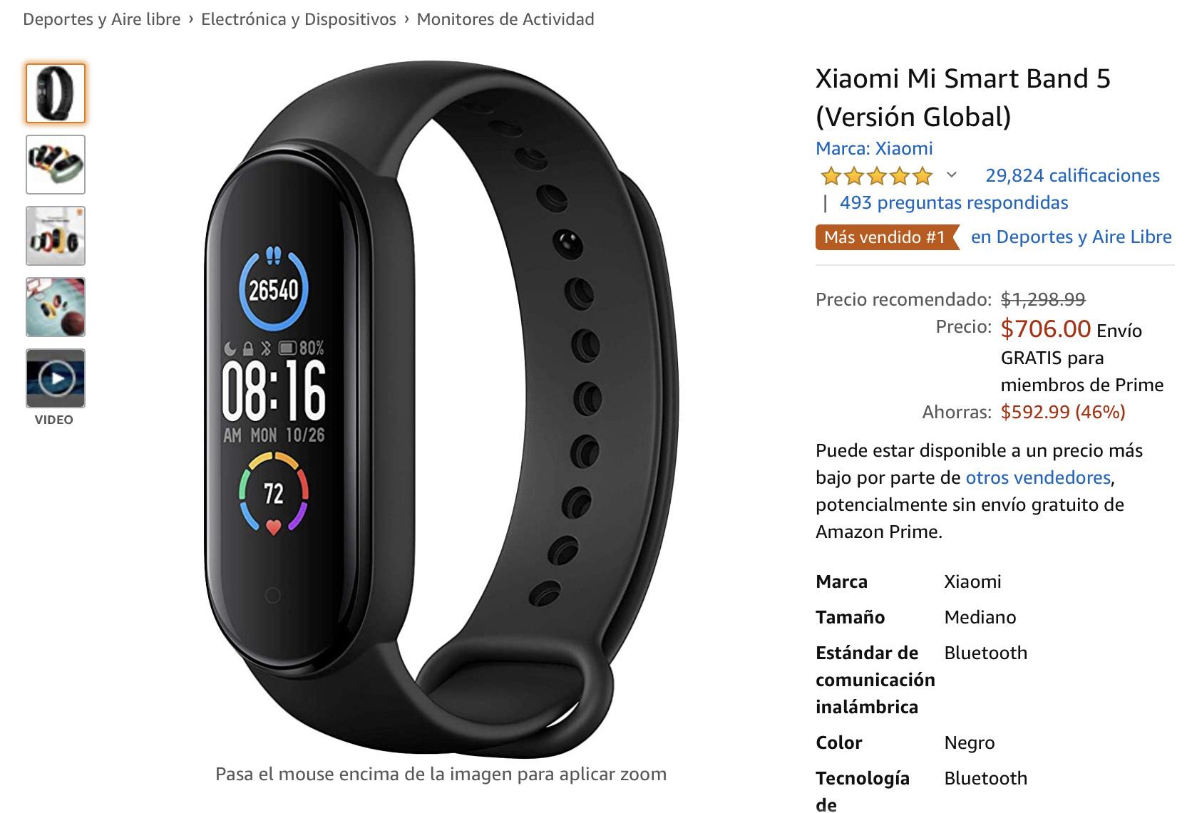 Amazon: Xiaomi Mi Smart Band 5 (Versión Global)